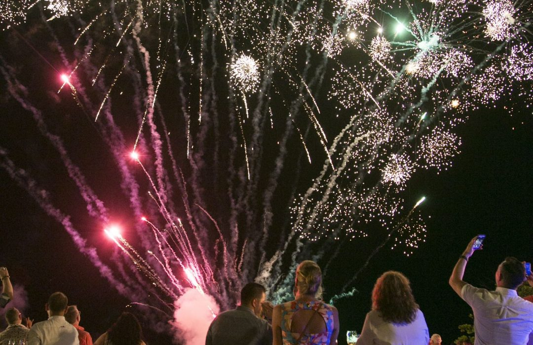 Outdoor Fireworks Multishot Cakes being used at an event