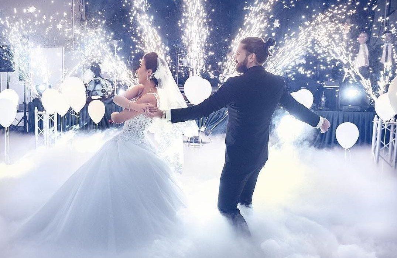 Indoor Pyrotechnics at Wedding Bridal Dance